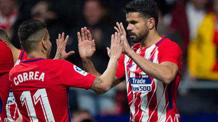 Angel Correa (kiri) dan Diego Costa, dua striker Atletico Madrid. - INDOSPORT
