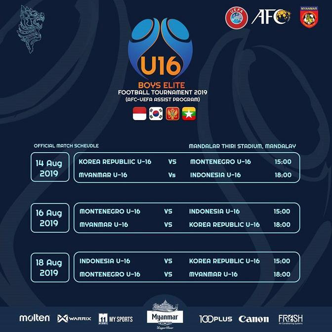 Jadwal pertandingan International U-16 Boys Tournamen 2019 yang digelar di Myanmar Copyright: Facebook/Federasi Sepak Bola Myanmar