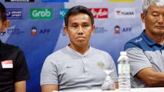 Indosport - Pelatih Timnas Indonesia U16, Bima Sakti saat menghadiri sesi preskon sebelum Piala AFF U16. Foto: PSSI