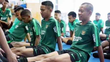 Skuat Timnas U-16 saat menjalani latihan sebelum Piala AFF. Foto: PSSI - INDOSPORT
