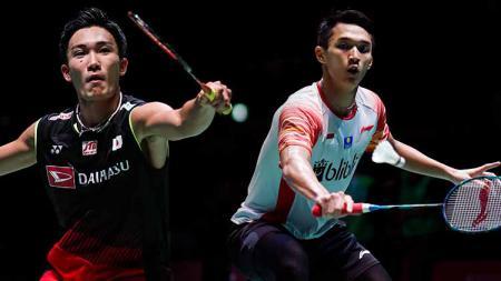 Kento Momota dan Jonatan Christie akan berhadapan di final Jepang Open 2019. - INDOSPORT