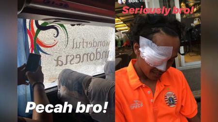 Korban pelemparan batu Bus Persija jelang leg kedua final Kratingdaeng Piala Indonesia, Sabtu (27/07/19). Foto: Instagram @dogbro - INDOSPORT
