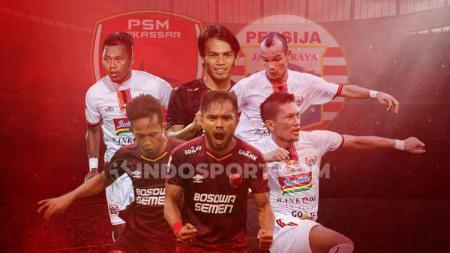Adu tajam para pemain PSM Makassar vs Persija Jakarta. - INDOSPORT