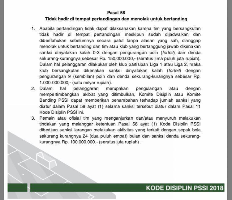 Kode Disiplin PSSI 2018 Pasal 58 Copyright: PSSI