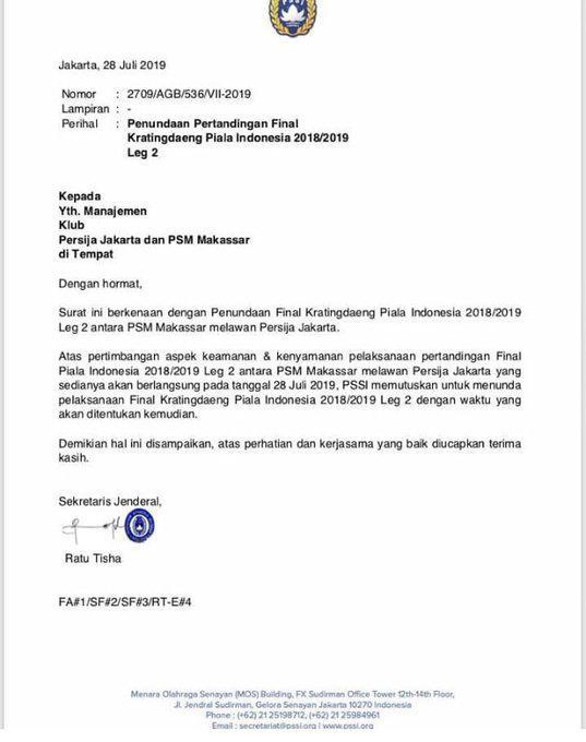 Surat keputusan PSSI mengenai penundaan final leg 2 Kratingdaeng Piala Indonesia 2018/19 PSM Makassar vs Persija Jakarta Copyright: PSSI