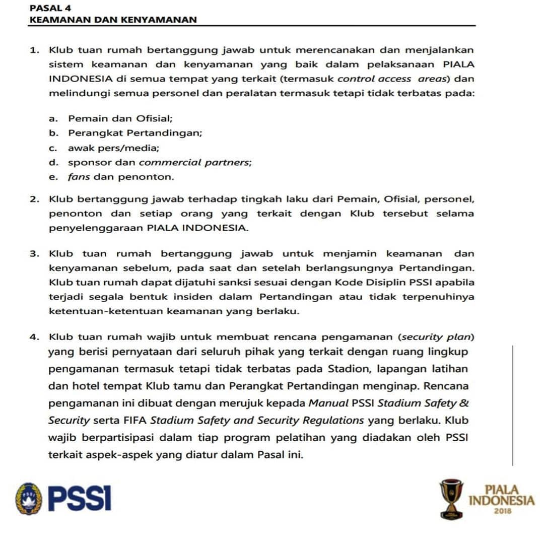 Regulasi PSSI soal keamanan dan kenyamanan pertandingan. Copyright: Instagram@akmalmarhali20