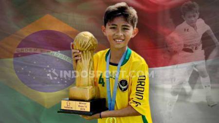 Wonderkid Indonesia, Welberlieskott de Halim Jardim, baru-baru ini mendapat pujian dari media Brasil dan disebut sebagai titisan Neymar. - INDOSPORT