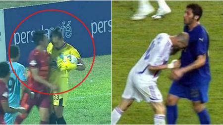 Kiper Persela Dwi Kuswanto menanduk Wahyudi Hamisi dan tandukan Zidane ke Materazzi. - INDOSPORT