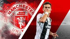 Indosport - Paulo Dybala dan logo Manchester United.