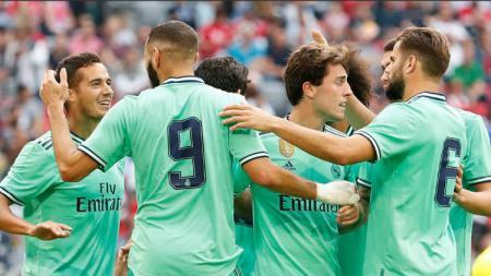 Selebrasi para pemain Real Madrid di laga Audi Cup melawan Fenerbahce. - INDOSPORT