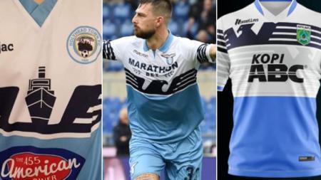 Kemiripan jersey Lazio dengan klub Liga 3 Indonesia, Persikoba Batu. - INDOSPORT