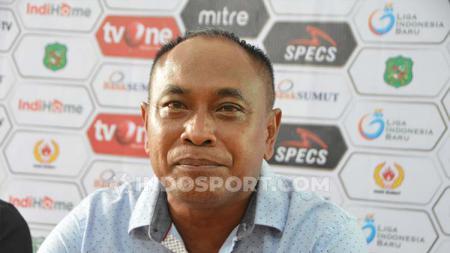 Pelatih Sriwijaya FC, Kas Hartadi, dalam konferensi pers usai pertandingan Liga 2 2019. Foto: Aldi Aulia Anwar/INDOSPORT - INDOSPORT