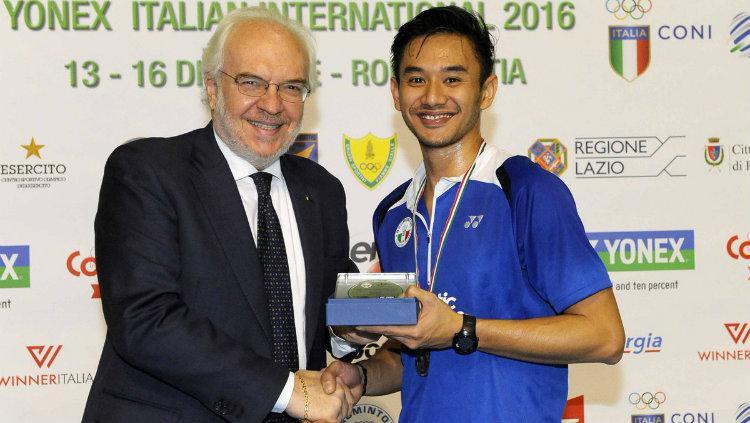 Pebulutangkis Indonesia, Indra Bagus saat juara di Italia tahun 2016. Copyright: coni.it