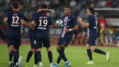 Indosport - Selebrasi para pemain PSG saat menang 4-0 atas Toulouse di pekan ketiga Ligue 1 2019/20.