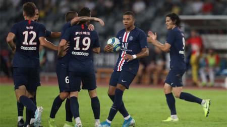 Selebrasi Angel Di Maria kala mencetak gol pada laga Paris Saint-Germain (PSG) vs Rennes di final Piala Super Prancis, Sabtu (03/08/19). - INDOSPORT