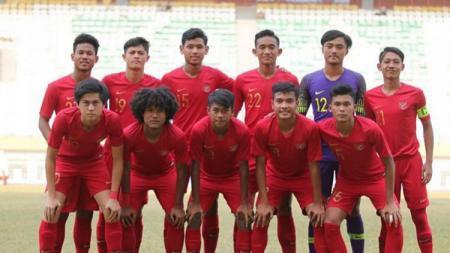 Skuat Timnas Indonesia U-18 saat laga uji coba sebelum Piala AFF U-18 2019 - INDOSPORT