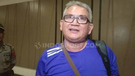Ketua Umum Jakmania, Ferry Indrasjarief terkait laga final nanti. Foto: Zainal Hasan/INDOSPORT - INDOSPORT