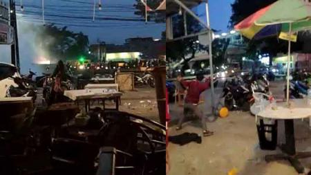 Situasi kerusuhan oknum suporter PSM Makassar vs Jakmania di Jakarta. - INDOSPORT