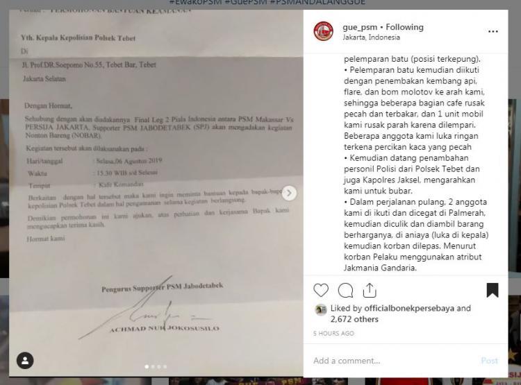 Kronologis Kejadian Terduga Oknum Jakmania Serang Suporter PSM di Jakarta. Copyright: https://www.instagram.com/gue_psm/