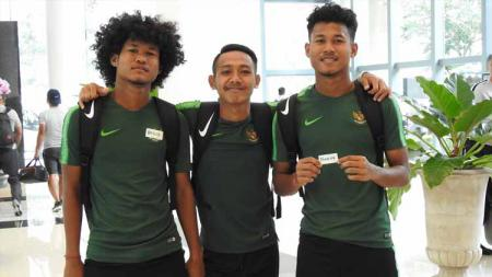 Pemain Timnas Indonesia U-19, Bagus Kahfi, Beckham Putra Nugaraha dan Bagas Kaffa. Foto: pssi.org - INDOSPORT