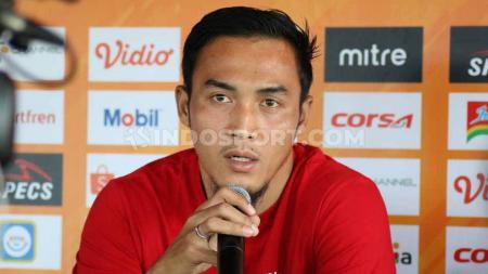 Bek Bali United, Gunawan Dwi Cahyo, dalam sesi jumpa pers pasca-laga Liga 1 2019. - INDOSPORT