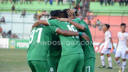 Aksi selebrasi pemain PSMS Medan melawan PSGC Ciamis. - INDOSPORT