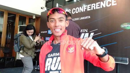 Agus Prayogo, wakil Indonesia di cabor lari berhasil finis pertama di nomor marathon SEA Games 2019 yang digelar di Stadion Atletik New Clark City, Clark, Filipina, Jumat (06/12/2019). - INDOSPORT