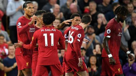 Selebrasi para pemain Liverpool saat mencetak gol ke gawang Norwich City di laga perdana Liga Primer Inggris, Sabtu (10/08/19). - INDOSPORT