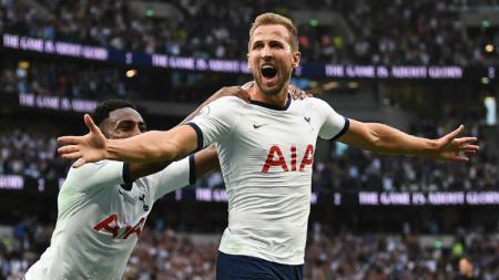 Selebrasi goal Harry Kane di laga Tottenham vs Aston Villa, sabtu (10/08/19). - INDOSPORT