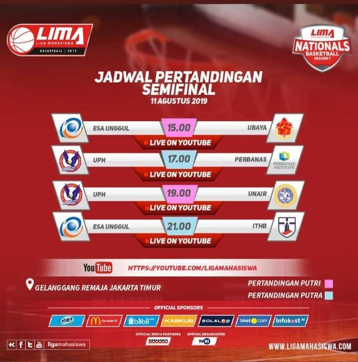 Jadwal semifinal Liga Mahasiswa. Copyright: Liga Mahasiswa