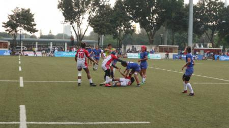 Timnas putri rugby Indonesia saat berlaga di Asia Rugby Sevens Trophy 2019. - INDOSPORT