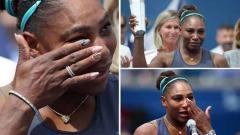 Indosport - Serena Williams menangis setelah dirinya mengumumkan mundur di partai final Piala Rogers.