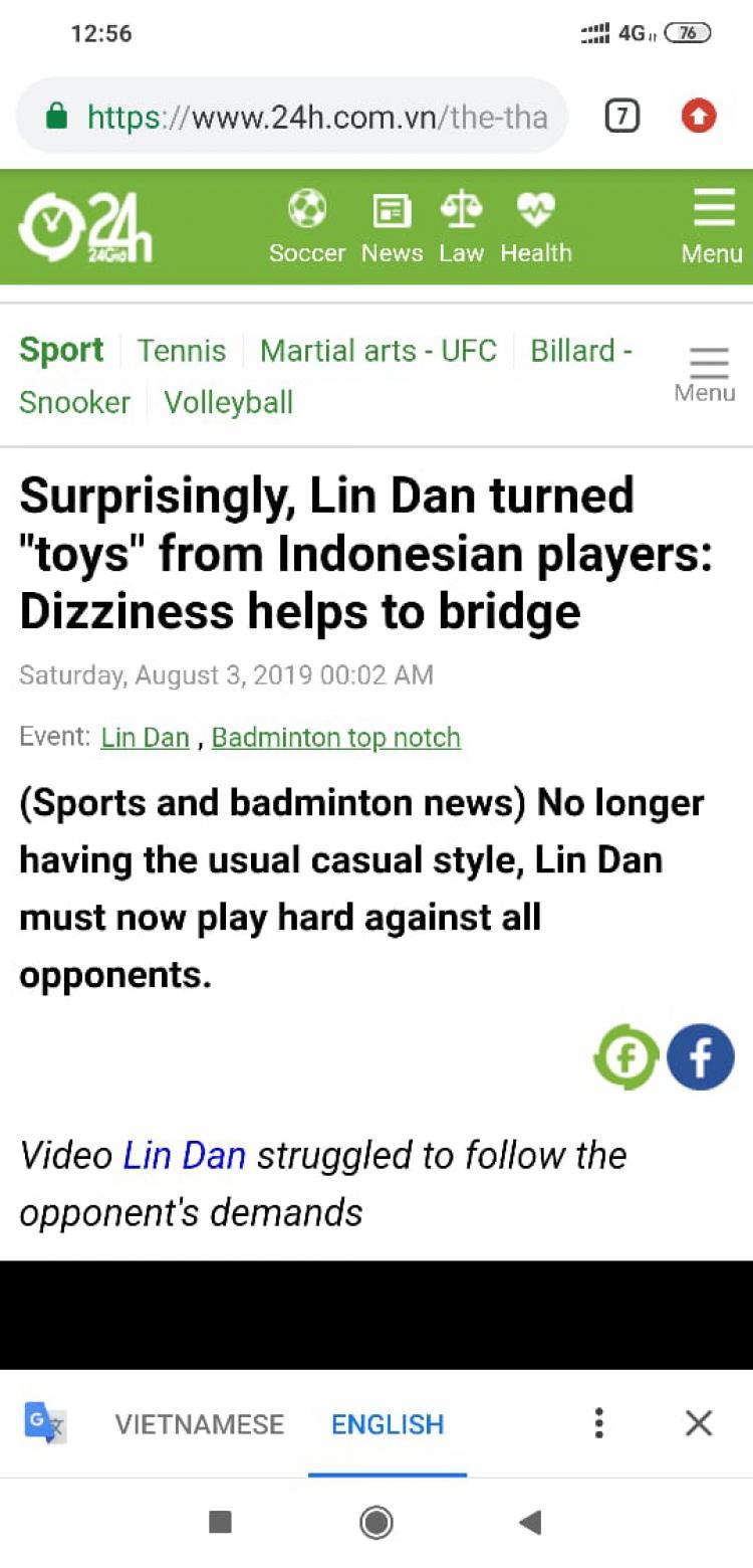 Media Vietnam Sebut Lin Dan Jadi Mainan Pebulutangkis Indonesia Copyright: 24h.com.vn