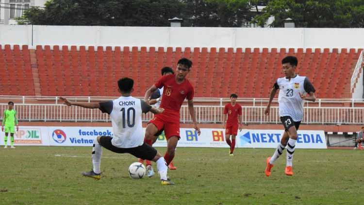 Laga penentu Indonesia U18 vs Laos U18 di Stadion Thong Nhat, Vietnam, Senin (12-08-19). Foto: Media PSSI Copyright: Media PSSI