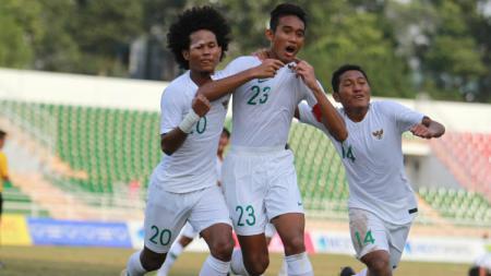 Potret laga Timnas Indonesia U-18 vs Myanmar para Rabu (14/08/19) di Stadion Thong Nhat, Vietnam. - INDOSPORT
