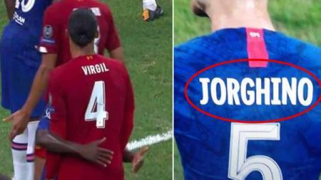 Virgil van Dijk vs N'Golo Kante dan jersey Jorginho typo. - INDOSPORT