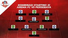Indosport - Kombinasi Starting XI Arema FC vs Persebaya Surabaya.