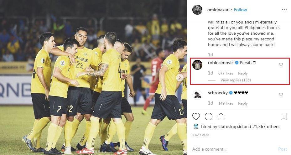 Penyerang klub Omiya Ardija, Robin Simovic, ikut memberikan komentar di akun Instagram Omid Nazari Copyright: Instagram.com/omidnazari