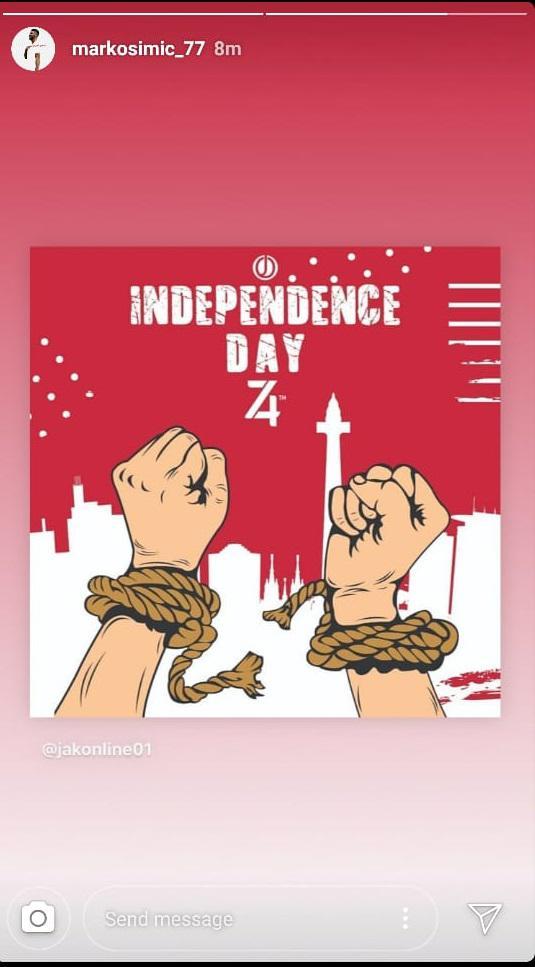 Bomber Persija Jakarta, Marko Simic, mengucapkan selamat Hari Kemerdekaan Republik Indonesia ke-74 Copyright: Instagram/Marko Simic_77