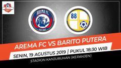 Indosport - Pertandingan Arema FC vs Barito Putera.