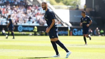 Senyuman Karim Benzema usai membawa Real Madrid unggul 1-0 atas Celta Vigo - INDOSPORT