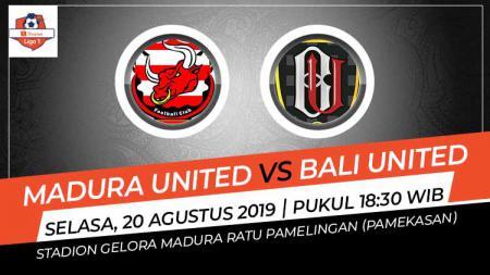 Laga Madura United melawan Bali United di Stadion Gelora Ratu Pamelingan, Madura, pada Selasa (20/8/19) pukul 18.30 WIB bisa disaksikan di Vidio.com. - INDOSPORT