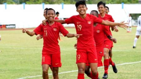 Ahmad Athallah Araihan, striker Timnas Indonesia U-15 yang berhasil cetak gol ke gawang Korea Selatan di Boys Elite Football Tournament 2019, Minggu (18/08/19) - INDOSPORT