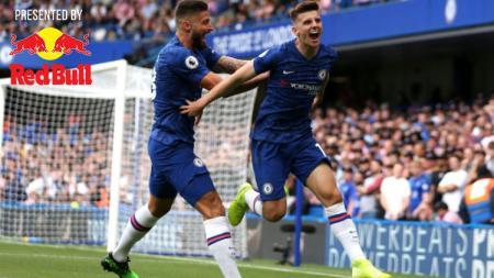 Selebrasi Wonderkid Chelsea, Mason Mount saat mencetak gol ke gawang Leicester City di Liga Primer Inggris - INDOSPORT