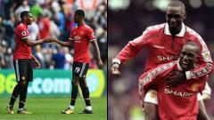 Indosport - Dua penyerang Man United masa kini (kiri), Anthony Martial dan Marcus Rashford, serta dua striker Man United masa lalu, Andy Cole (atas) dan Dwight Yorke