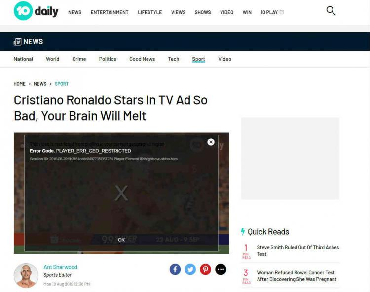Iklan Shopee yang dibintangi Cristiano Ronaldo jadi sorotan media luar. Copyright: 10 Daily