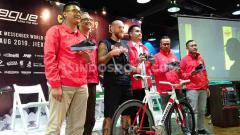 Indosport - Konferensi pers Kejuaraan Dunia Kurir Sepeda 2019 pada Selasa (20/08/19) di kawasan Cikini, Jakarta.