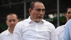 Indosport - Edy Rahmayadi sempatkan menonton laga uji coba PSMS Medan
