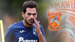 Indosport - Juan Alsina dan logo Borneo FC.