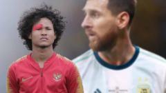 Indosport - Pemain Timnas Indonesia, Bagus Kahfi dan bintang Timnas Argentina, Lionel Messi.